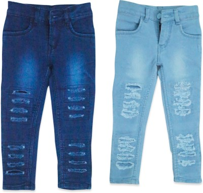 guchu Slim Baby Girls Blue Jeans(Pack of 2)