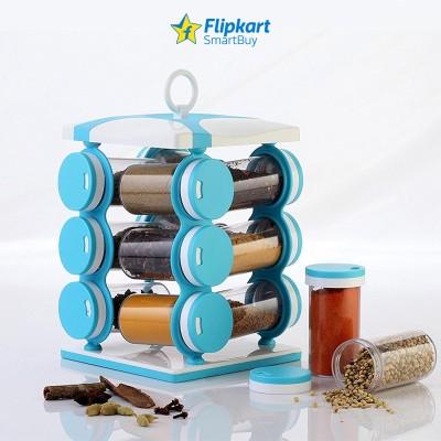 Flipkart SmartBuy Revolving Spice Rack, Masala Box, Spice Box, Masala Rack, Trolley Rack 12 Piece  - 75 ml Plastic Spice Container(Blue)