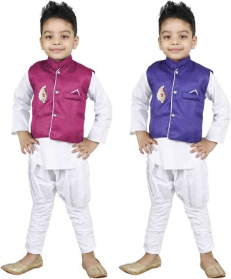DEBDESHIK Boys Festive & Party Kurta, Waistcoat and Pyjama Set(Multicolor Pack of 6) Flipkart