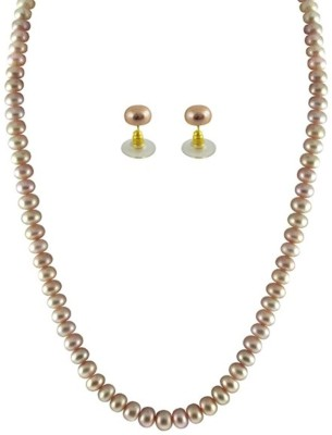 KNK JEWELLERY Gorgeous Single Line Peach Button Pearl Set By KNK Jewellery Mother of Pearl Rhodium Plated Alloy Necklace Set  available at flipkart for Rs.1200