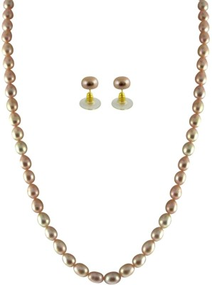 KNK JEWELLERY Gorgeous Single Line Oval Peach Pearl Set By KNK Jewellery Mother of Pearl Rhodium Plated Alloy Necklace Set  available at flipkart for Rs.1150