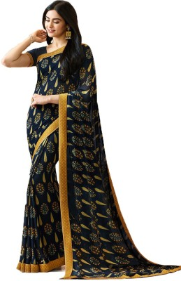 Bombey Velvat Fab Floral Print, Geometric Print, Printed, Plain, Embellished, Applique, Paisley, Solid, Checkered, Striped Daily Wear Georgette, Chiffon Saree(Black)