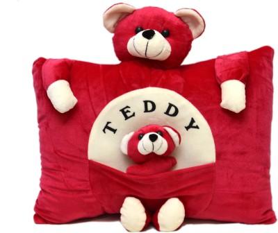 Prachi Teddy Pillow With Baby   20 cm Red Prachi Soft Toys