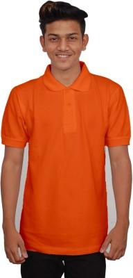 iTRENDII Solid Men's Polo Neck Orange T-Shirt
