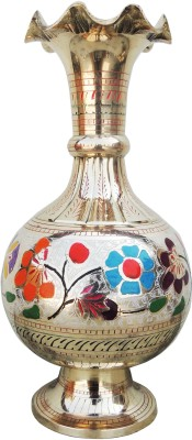 Brass Gift Center Flower Vase Pot with Handwork Brass Vase(13 inch, Multicolor)  available at flipkart for Rs.3799