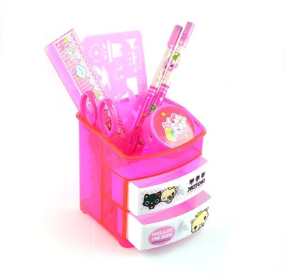 infinxt 6 Compartments Plastic Pen Stand(Pink)