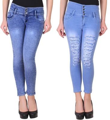 A-Okay Slim Women Blue, Light Blue Jeans(Pack of 2)