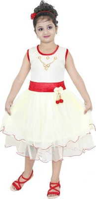 AADIGAS Girls Maxi/Full Length Party Dress(Multicolor, Sleeveless)  available at flipkart for Rs.289