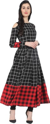 Nayo Women Checkered Anarkali Kurta(Black, Red)