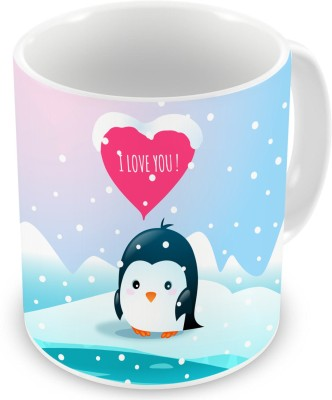 Factorywala Winter Penguin Saying I Love You Text Printed Drinking for Coffee, Tea, Milk Ceramic Mug(330 ml)  available at flipkart for Rs.329