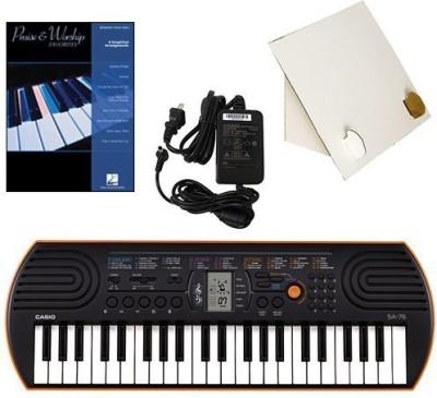 Generic Casio Sa-76 44 Key Mini Keyboard Deluxe Bundle Includes Bonus Casio Ac Adapter, Desktop Music Stand & Praise & Worship Favorites(Multicolor)  available at flipkart for Rs.17339
