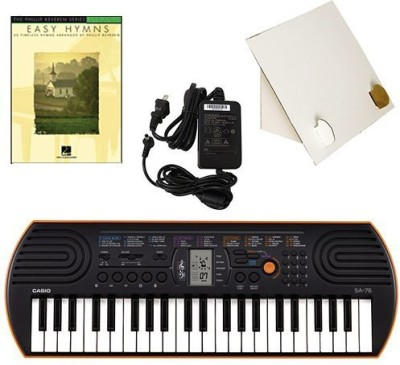 Generic Casio Sa-76 44 Key Mini Keyboard Deluxe Bundle Includes Bonus Casio Ac Adapter, Desktop Music Stand & Easy Hymns Beginning Piano(Multicolor)  available at flipkart for Rs.17339