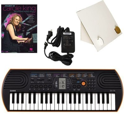 Generic Casio Sa-76 44 Key Mini Keyboard Deluxe Bundle Includes Bonus Casio Ac Adapter, Desktop Music Stand & Carole King Beginning Pian(Multicolor)  available at flipkart for Rs.17339
