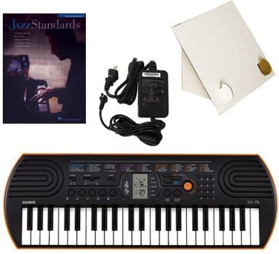 Generic Casio Sa-76 44 Key Mini Keyboard Deluxe Bundle Includes Bonus Casio Ac Adapter, Desktop Music Stand & Jazz Standards Beginning P(Multicolor)  available at flipkart for Rs.17339