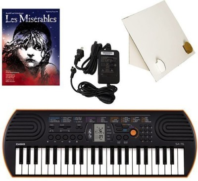 Generic Casio Sa-76 44 Key Mini Keyboard Deluxe Bundle Includes Bonus Casio Ac Adapter, Desktop Music Stand & Les Mis�Rables Beginning P(Multicolor)  available at flipkart for Rs.17339