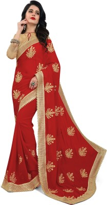 Om Shantam Sarees Embroidered Bollywood Georgette Saree(Red, Gold) Flipkart