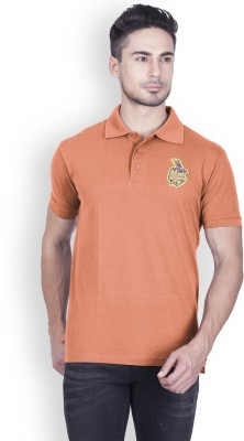 Kolkata Knight Riders Solid Men Polo Neck Orange T-Shirt