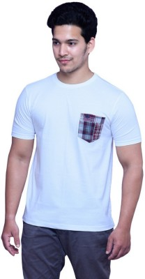 Madrasi Checks Solid Men Round Neck White T-Shirt