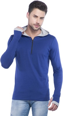 LEWEL Solid Men's Hooded Blue T-Shirt