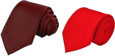 Hind Home Slim Red & Maroon Satin Combo Solid Men Tie