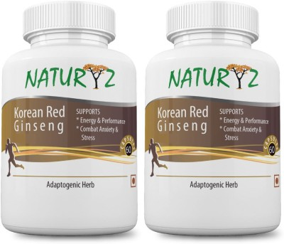 NATURYZ Korean Red Ginseng -800mg - 30 Servings (60 capsules) for more energy and less stress- Pack of 2 (Combo)(120 No)  available at flipkart for Rs.1149