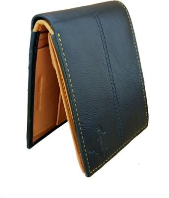 Naysa Men Casual, Formal Black, Tan Genuine Leather Wallet(8 Card Slots)