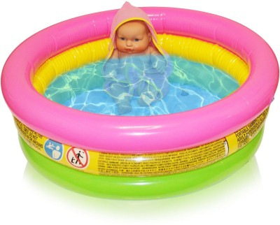 Akshat baby pool Single 3fit Swimming Inflatable Pool with baby doll Bath Toy(Multicolor)