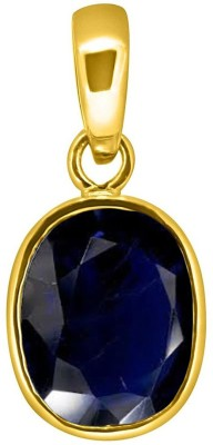 Tejvij and Sons 4.25 Ratti Original Blue Sapphire Neelam Ashthadhatu Pendent for Men & Women Gold Plated Yellow Gold Sapphire Metal Pendant