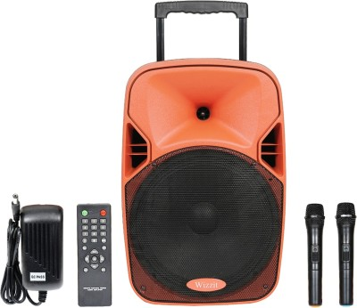wizzit Heavyduty 12 Inch Professional Karaoke Bluetooth PA System Portable Rechargeable Trolley Speaker with 2 Wireless Microphone, Remote Control, FM Radio, AUX/TF/USB # 100W Outdoor PA System(100 W)  available at flipkart for Rs.7999