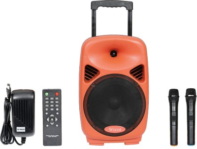 WIZZIT Heavy Duty 8 Inch Professional Karaoke Bluetooth PA System Portable Rechargeable Trolley Speaker with 2 Wireless Microphone, Remote Control, FM Radio, AUX/TF/USB # 50W Outdoor PA System(50 W)  available at flipkart for Rs.5499