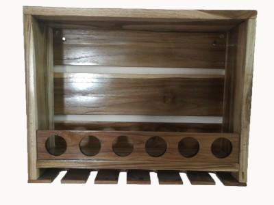 PeachCherry Wine Rack Liqour Cabinet Wooden Wall Shelf(Number of Shelves - 1, Brown)