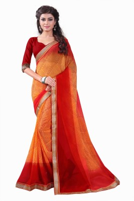 Bombey Velvat Fab Printed, Self Design, Geometric Print, Floral Print, Hand Painted, Plain, Solid, Applique, Paisley, Embellished, Woven, Striped, Checkered Daily Wear Georgette, Chiffon Saree(Orange)