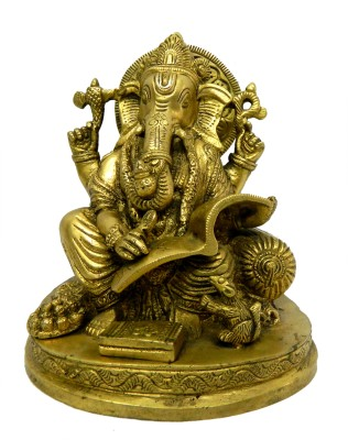 Bharat Haat Writing Ganesh Showpiece  -  15.24 cm(Brass, Yellow)  available at flipkart for Rs.253