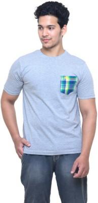 Madrasi Checks Solid Men Round Neck Grey T-Shirt