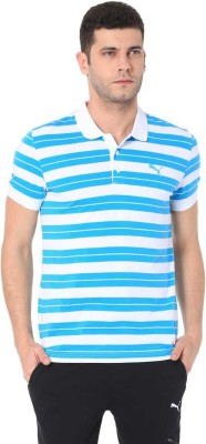Puma Striped Men Polo Neck White, Light Blue T-Shirt