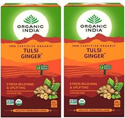 Organic India Tulsi Ginger Tea Tulsi, Ginger Herbal Infusion Bags Box(25 Bags)