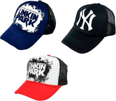 BnB Printed, Solid Half Net, Baseball, Mesh, Trucker, Sports Cap(Pack of 3)