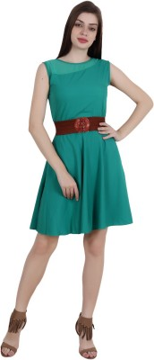 My Swag Women Fit and Flare Green Dress