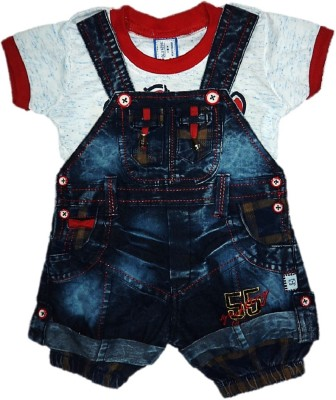 Oly Kids Dungaree For Boys Party Printed Cotton, Denim(Blue, Pack of 1)