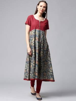 Aks Women's Floral Print Anarkali Kurta