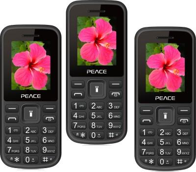 Peace P1 Pack of Three Mobiles(Black, Black$$Blue, Black$$Red)