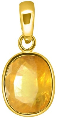 Tejvij and Sons 4.25 Ratti yellow sapphire pendent ashthadhatu with gold plated for men & women… Gold-plated Sapphire Metal Pendant