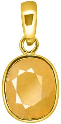 Tejvij and Sons 6.25 Ratti natural yellow sapphire ashthadhatu pendent with gold plated for men & women… Gold-plated Sapphire Metal Pendant