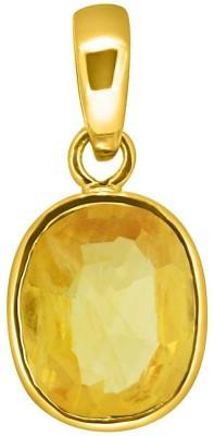 Tejvij and Sons 3.25 Ratti Original Blue Sapphire Neelam Ashthadhatu Pendent for Men & Women Gold Plated Yellow Gold Sapphire Metal Pendant