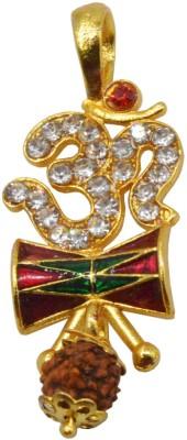 Men Style Shankar Om Trishul Shiv Ling SPn005021 Gold-plated Alloy Pendant Set