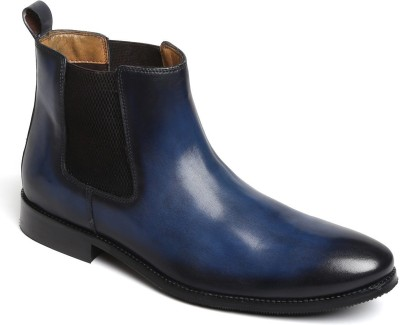 Brune Men blue leather hand made chelsea boots for Boots For Men(Blue)
