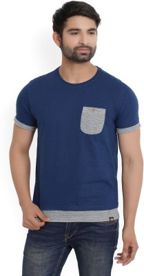 Diwazzo Solid Men Round Neck Dark Blue T-Shirt