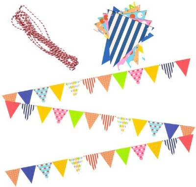 AMFIN Party Bunting Flags Banner for Birthday Decoration, Decoration for Weddings, Engagement, Baby Shower, 1st Birthday, Anniversary Party, Bachelors Party, Office Party, Christmas & New Year Celebration - Multicolor Banner(3 ft, Pack of 1)