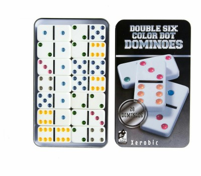 Xerobic Double 6 Color Dot Dominoes, Set Of 28 dominos Game Bright Colored Dots Puzzle Game For Family Board Game  available at flipkart for Rs.499