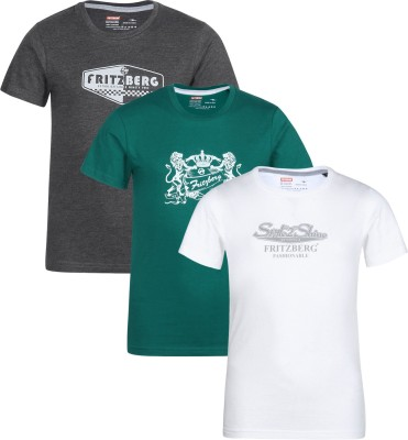 Fritzberg Boys Printed Cotton T Shirt(Multicolor, Pack of 3) Flipkart